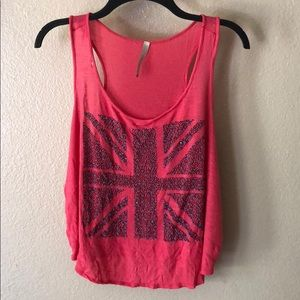 Anthropologie Paper Crane Beaded flag tank top L